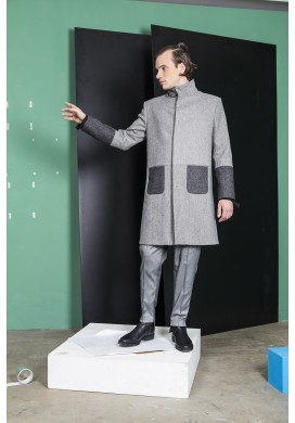 Stand-up collar double pocketed overcoat