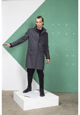 Stand-up collar double cover pocketed overcoat
