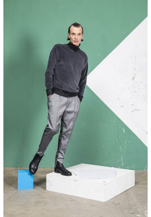 Two colour pleated trousers