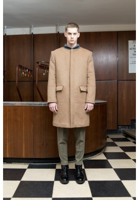 Camel Bomber Collar Wool Overcoat