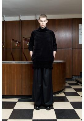 Corduroy Wide Collar Raglan Tunic Sweatshirt