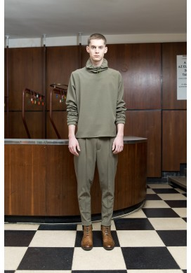 Top Stitch Pleated Olive Green Trousers
