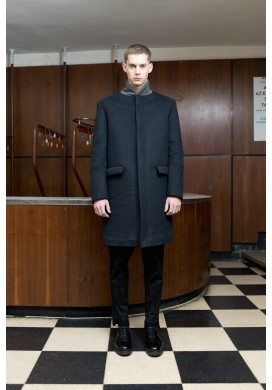 Midnight Blue Bomber Collar Wool Overcoat