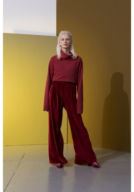 Plush Drawstring Loose Wide Leg Trousers
