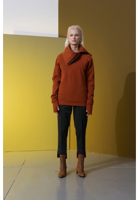 Rust-Orange Wide Collar Raglan Sweatshirt