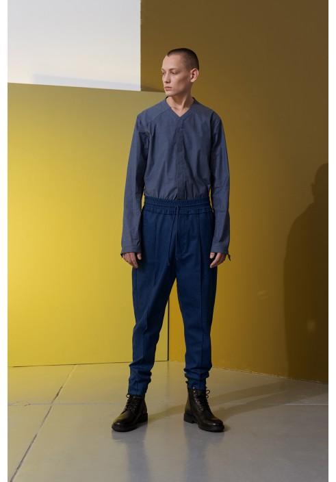 V-Neck Denim Blue Long Sleeve Shirt