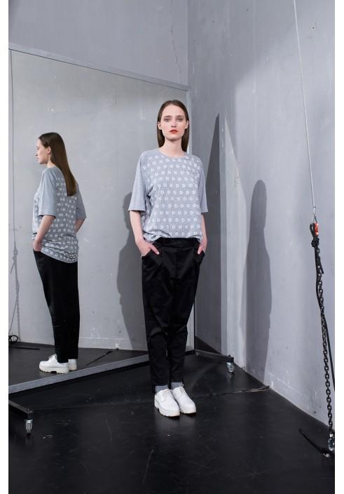 Football Print Grey Oversize T-Shirt