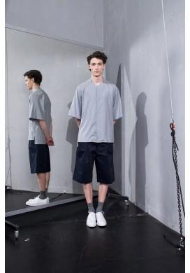 Hidden Button Line Grey Shirt