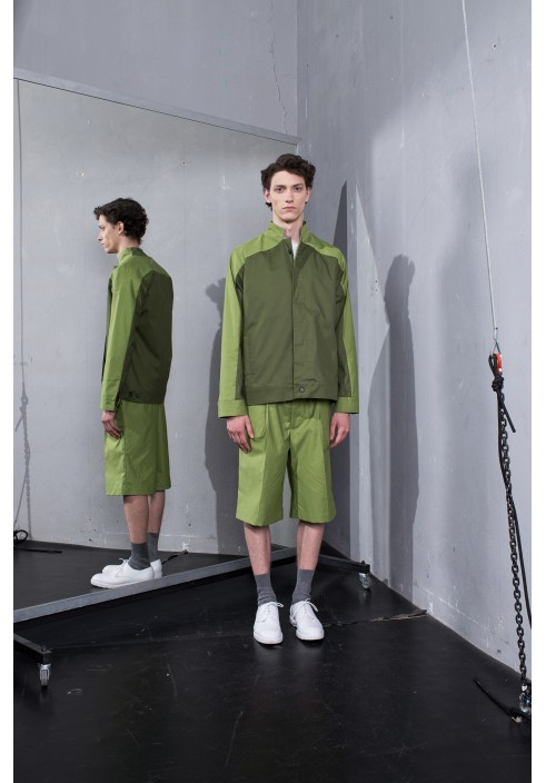 Hidden Button Line Olive Jacket