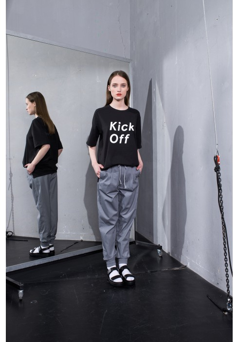 Kick Off Graphic Black Oversize T-shirt