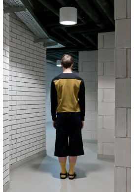 Black And Mustard Yellow Color Block Sweatshirt