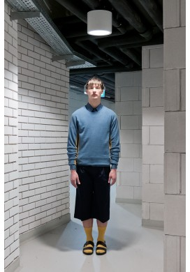 Blue Sweatshirt With Yellow Lining