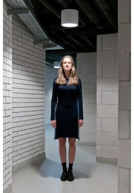 Deep Navy Dress With Light Blue Sides