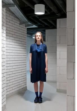 Deep Navy Pleated Short Sleeve Dress