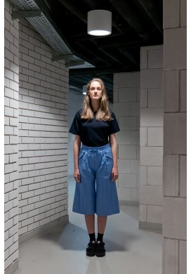 Drawstring Sky Blue Long Cut Shorts
