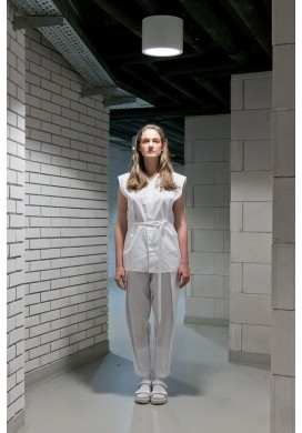 Front Pleated Long White Trousers