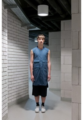 Sleeveless Long Blue Shirt