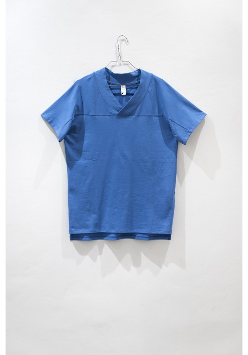 Oversized Mid Blue V-neck T-shirt