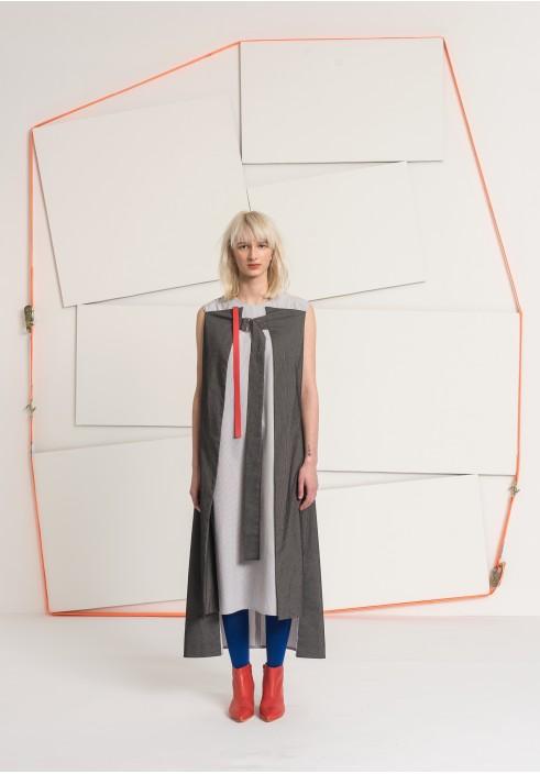 Folded Side Sleeveless Long Dress