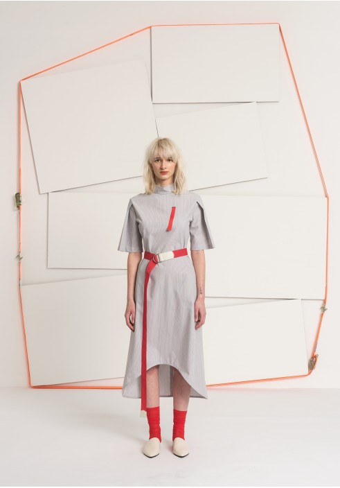 Folded Sleeve Grey Striped Long Dress
