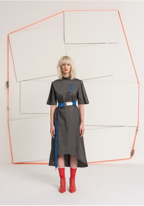 Folded Sleeve Black Striped Long Dress
