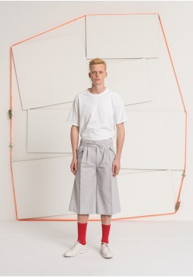 Drawstring Grey Striped Bermuda Trousers