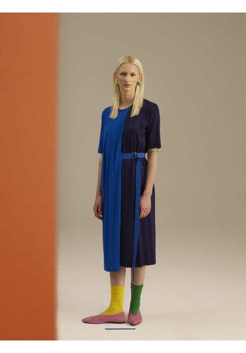 Blue Color Block Layered Dress
