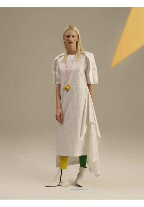 Folded Sleeve Layered Long Dress
