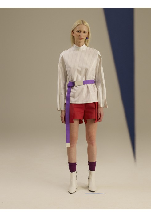 Folded Sleeve Striped Shirt