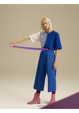 Huge Pleated Cobalt Blue Culotte