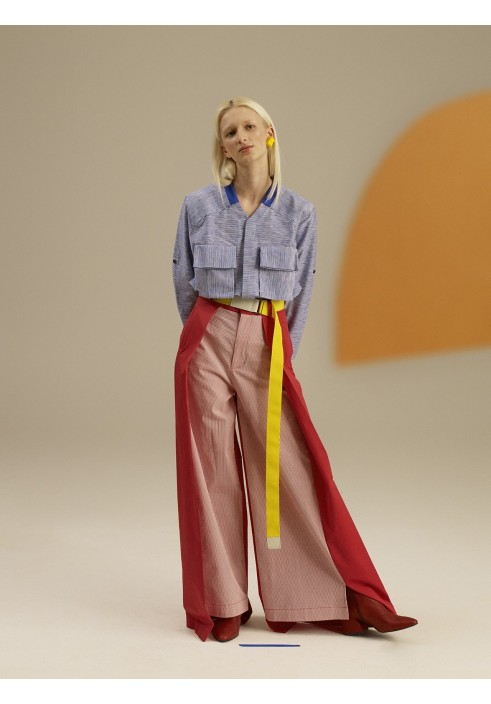 Huge Pleated Red-Striped Trousers