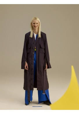 Long Midnight Blue Flared Coat