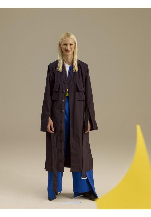 Long Midnight Blue Flared Coat