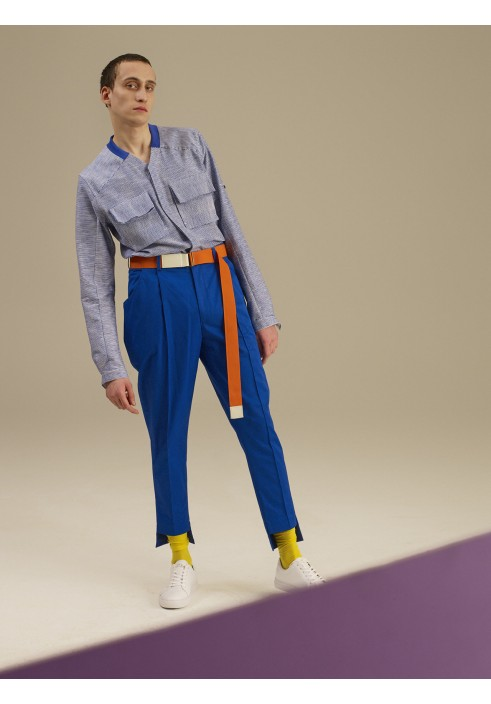 Top Stitch Cobalt Blue Trousers