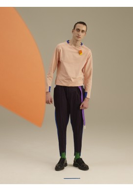 Top Stitch Color Block Trousers