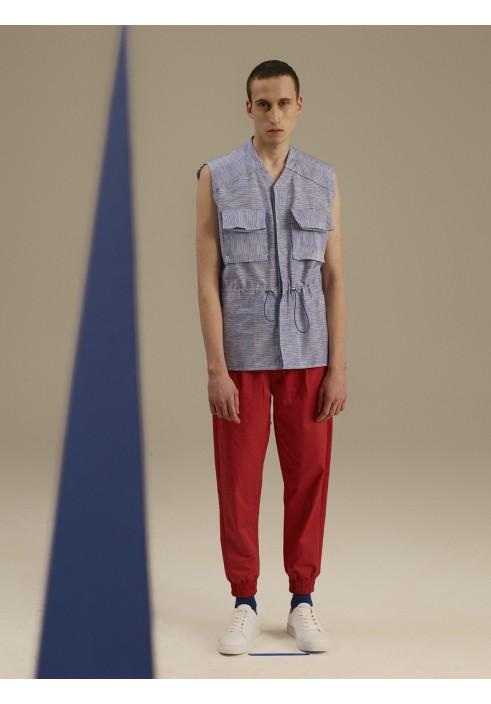 V-Neck Striped Sleeveless Shirt