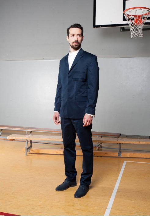 Hidden button line suit blazer